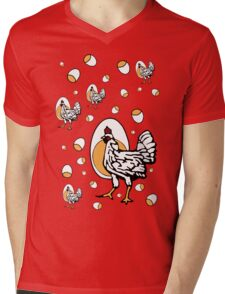 Retro Chickens Mens V-Neck T-Shirt