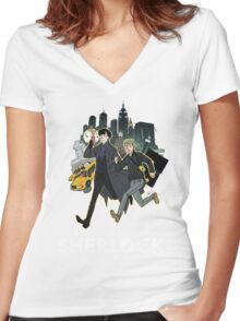 Sherlock NYC -  SCREENING - Day (White Logo)  Women's Fitted V-Neck T-Shirt
