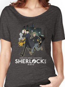 Sherlock NYC -  SCREENING - Day (White Logo)  Women's Relaxed Fit T-Shirt