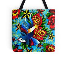 Traditional Swallow & Rose Tattoo Tote Bag