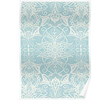 Floral Pattern in Duck Egg Blue & Cream Poster