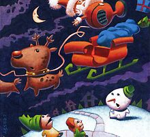 Santa's Trippin' Acrylic version by Mike Cressy