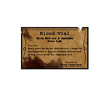Blood Vial - Bloodborne Photographic Print