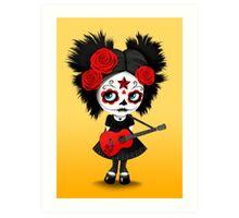 Red Sugar Skull Big Eyed Girl Playing the Guitar Art Print