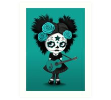 Teal Blue Sugar Skull Big Eyed Girl Playing the Guitar Art Print