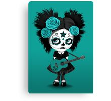 Teal Blue Sugar Skull Big Eyed Girl Playing the Guitar Canvas Print