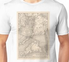 Vintage Cape Cod Old Colony Line Map (1888) Unisex T-Shirt