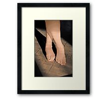 Bare Feet Standing in Sunlight Framed Print