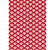 Art Deco Wave Pattern - coral red and pink Photographic Print