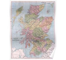 Vintage Map of Scotland (1892) Poster