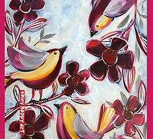 """""""Finches in the Flowers"""" by Anna Bartlett by annabartlett"""