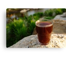 Coffee by a river Canvas Print