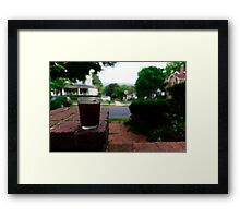 Sipping on the porch Framed Print