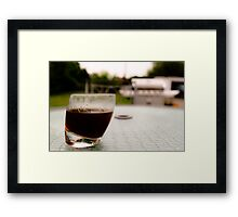 Sipping coffee in the yard  Framed Print