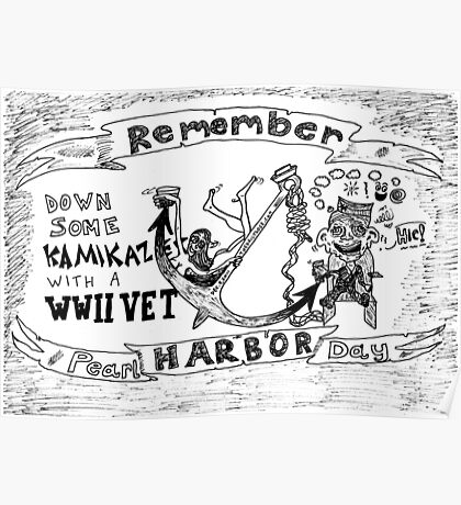Remember Pearl Harbor Day cartoon Poster