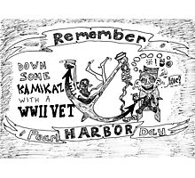 Remember Pearl Harbor Day cartoon Photographic Print