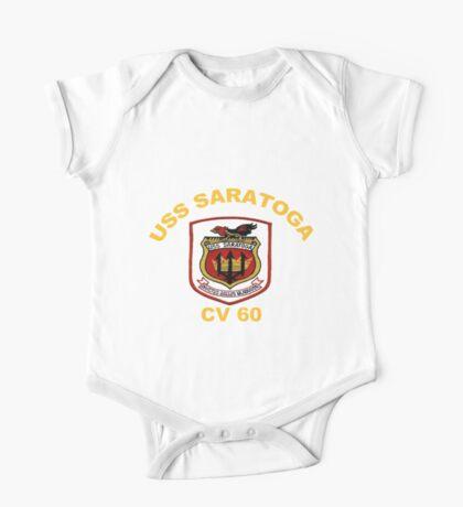 USS Saratoga (CV/CVA/CVB-60) Crest for Dark Colors One Piece - Short Sleeve