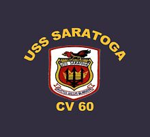 USS Saratoga (CV/CVA/CVB-60) Crest for Dark Colors Women's Fitted Scoop T-Shirt