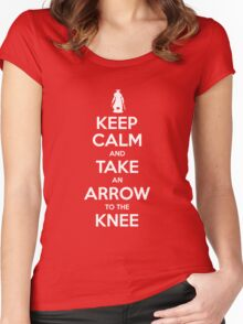 Keep Calm and Take an Arrow to the Knee Women's Fitted Scoop T-Shirt