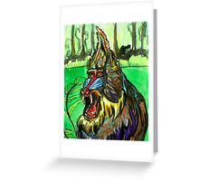 Manic Mandrill Baboon Greeting Card