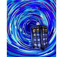 Blue Phone Box with Swirls Photographic Print