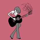 Girl and a Guitar-salmon pink by Midori Furze
