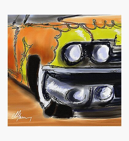 Cadillac With Flames Photographic Print