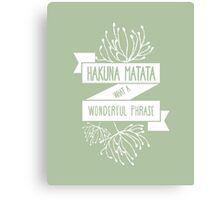 Fun Green Disney Lion King Ribbon Flower Quote, Hakuna matata, 'No worries for the rest of your days' Canvas Print