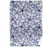 Indigo Summer - a hand drawn floral pattern Poster