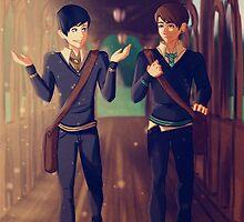 Dan and Phil Around Hogwarts by Emolise