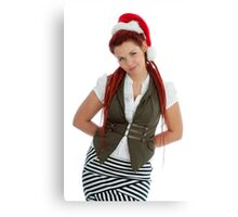 Young modern christmas girl isolated on white background. Canvas Print