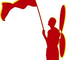 a man with a red flag and propeler  by SofiaYoushi