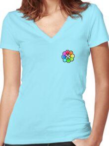 Rainbow Badge (Pokemon Gym Badge) Women's Fitted V-Neck T-Shirt