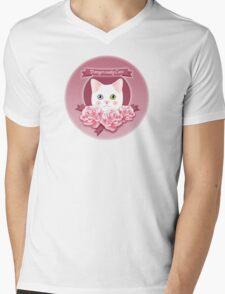 Dangerously Cute Cat Lover's Pink Delight Mens V-Neck T-Shirt