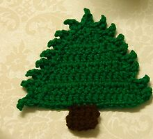 Crocheted Christmas Tree Coaster - Douglas Fir by Navigator