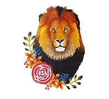 Lion with florals Photographic Print