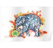 Green Ball Baby Elephant Poster