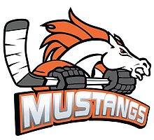 Melbourne Mustangs Classic White Logo by Melbourne Mustangs Ice Hockey Club