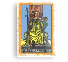 Queen Of Wands Tarot Card Blue Metal Print