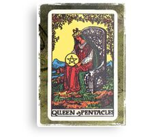 Queen Of Pentacles Tarot Card Fortune Teller Metal Print