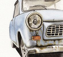 Old Blue Car Watercolor by JotaLara
