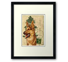 German Shepard Dog Vintage Post Card Framed Print