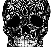 Ornate Sugar skull black and white illustration by GinjaNinja1801