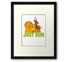 Lion and gazelle Framed Print