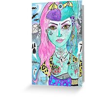 Psychobilly Dead Girl Greeting Card