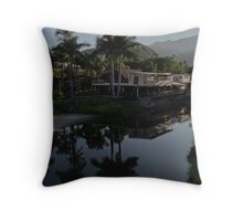 River landscape with mountains and jungle - Paisaje del rio con montañas y selva Throw Pillow