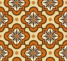Moroccan tile pattern - Rust and Tan by Marymarice