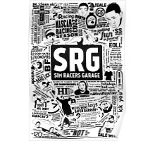 Sim Racers Garage Collage - Black w/ White Products Poster