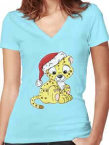 Jabari in a Christmas Hat Women's Fitted V-Neck T-Shirt