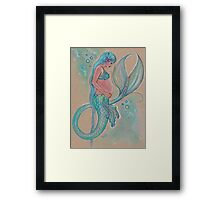 Baby Blue Pregnant Mermaid Framed Print